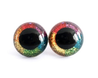 15 mm Safety Eyes Hand Painted Rainbow Glitter Craft Eyes for Crochet or Knit Amigurumi Stuffed Animals with Plastic Washers: 1 Pair