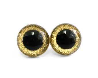 12 mm, 15 mm, 18 mm Gold Glitter Safety Craft Amigurumi Animal Eyes for Dolls - with Plastic Washers