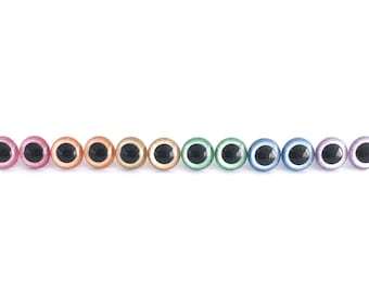 Safety Eyes in Pearlescent Pastel Rainbow Colors with Hint of Iridescent Glitter 12mm, 15mm, or 18mm Plastic Craft Eyes - 6 Pair