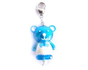 Blue Teddy Bear Stitch Marker Progress Keeper for Knit and Crochet Locing Kawaii Stitch Markers - Set of 1