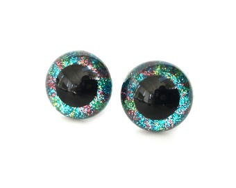 12mm Blue Safety Eyes with Green and Pink Stripes Glitter Finish - for Stuffed Animals and Amigurumi Dolls Craft Eyes - 1 Pair