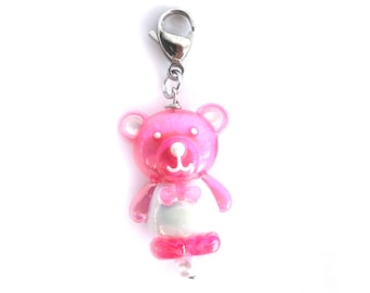 Crochet Stitch Marker Locking Progress Keeper Kawaii Pink Teddy Bear Charm for Knitting and Crocheting - Set of 1