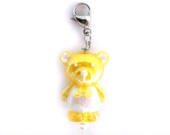 Crochet Progress Keepers Kawaii Teddy Bear Stitch Marker in Yellow for Knitting and Crocheting - Set of 1