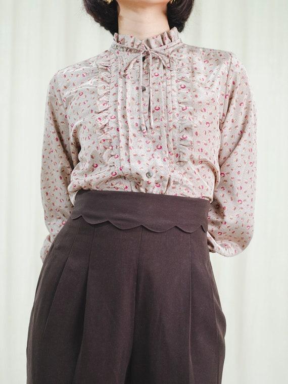 Vintage 80's Chiffon long-sleeve blouse