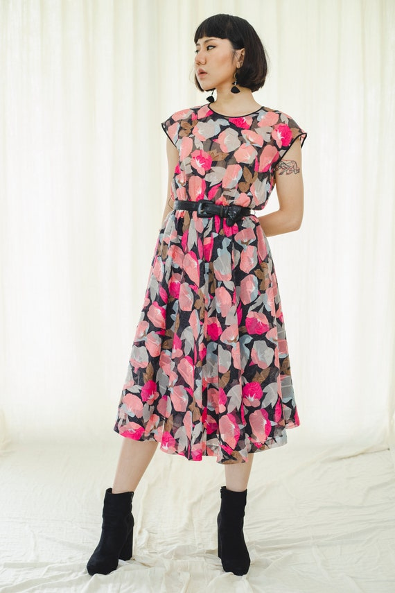 Cotton Floral Japanese pinky vintage dress