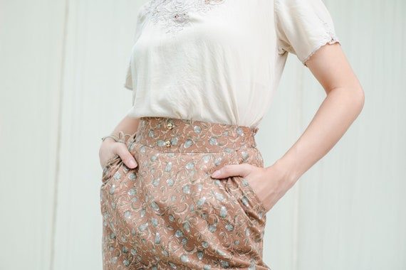 Pencil Skirt | Cotton flower print | Vintage 1980s - image 7