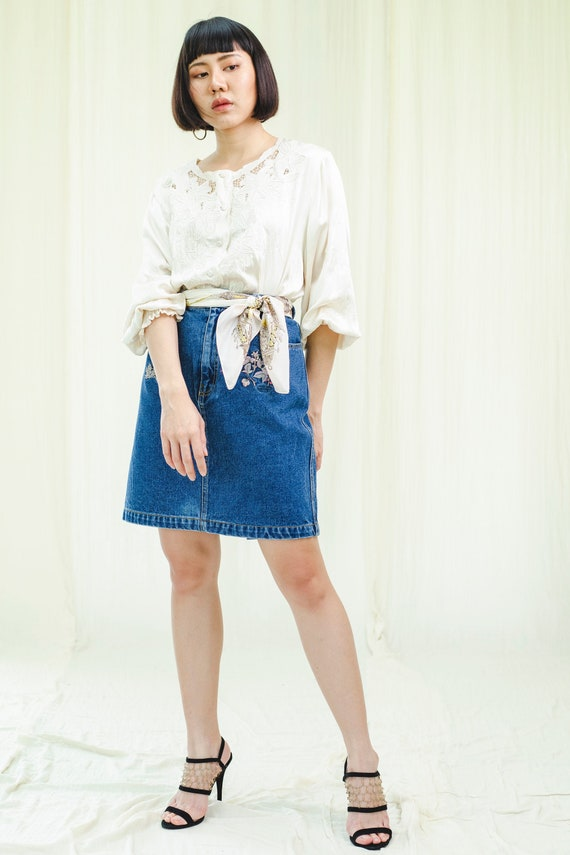 Vintage denim skirt | Embroidered denim skirt | Vi