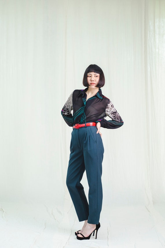 Trousers l Deep green 80's vintage trousers