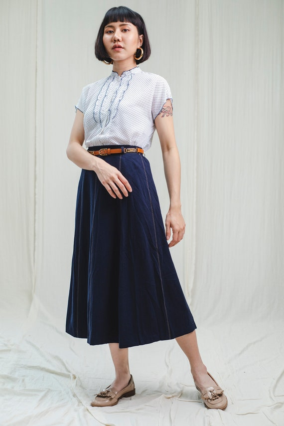 80's vintage dark denim skirt
