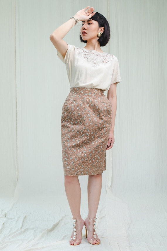 Pencil Skirt | Cotton flower print | Vintage 1980s - image 2