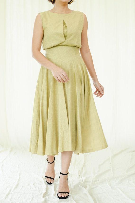 Olive green polkadot vintage dress