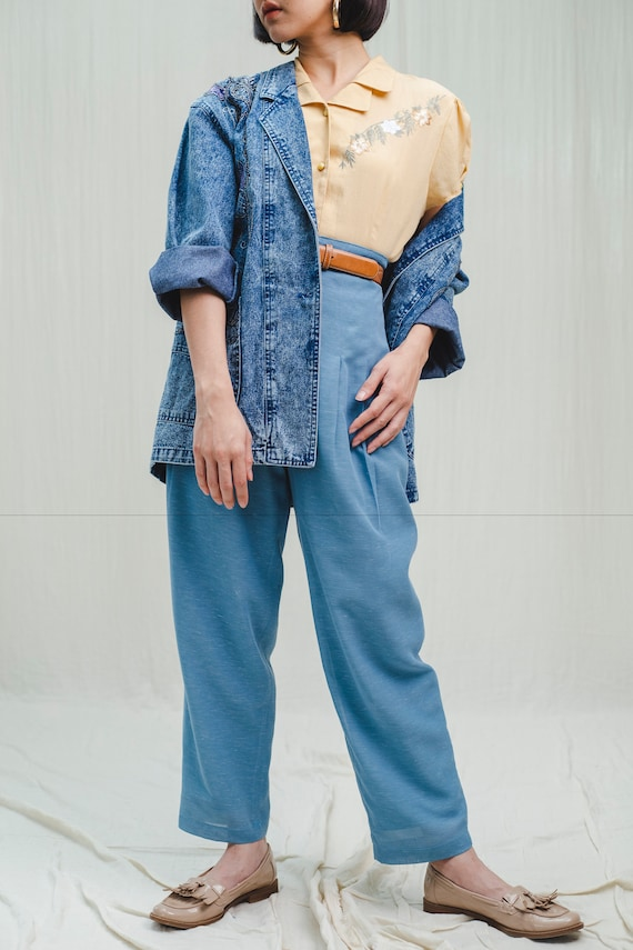 Trousers l Blue linen high-waisted trousers