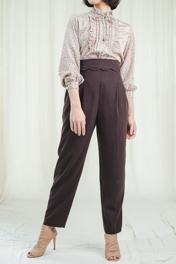 Trousers l Pretty 80's vintage brown trousers