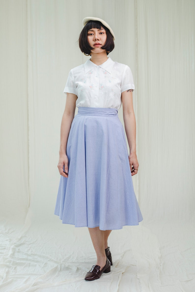 Skirt l Blue sky cotton vintage skirt