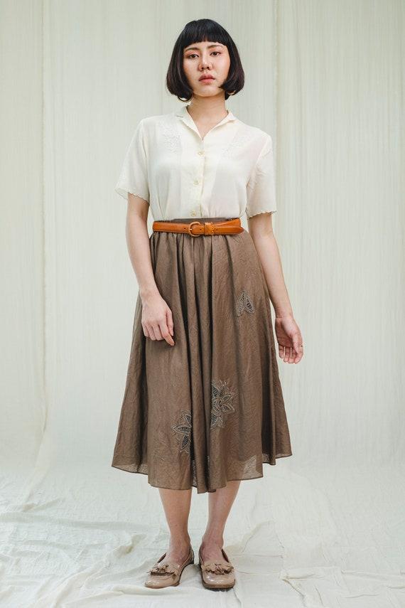Skirt l Dark brown cotton skirt