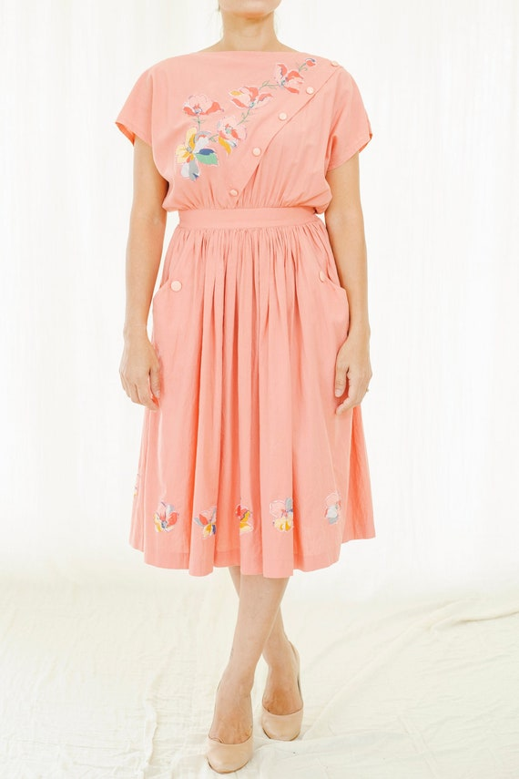 Pink floral vintage cotton dress
