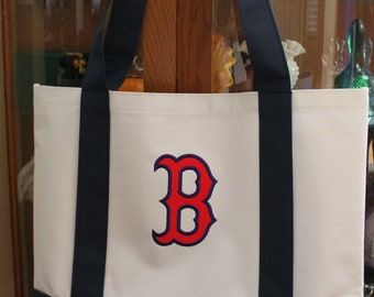 0f287ee92 Embroidered Boston Red Sox Logo Tote Bag