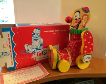 Fisher Price 1995 Toy Fest Repro Squeaky the Clown Pull Toy