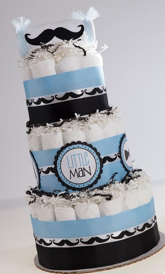 Baby Shower Centerpeice - Little Man Diaper Cake - Mustache Diaper Cake - Baby Boy Diaper Cake - Little Man Baby Shower - Baby Shower Gift