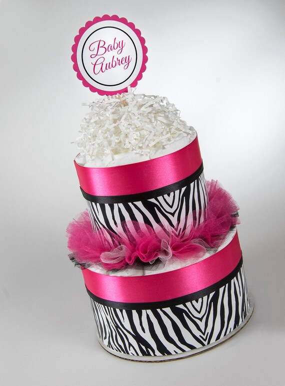 Diaper Cake - Diaper Cakes - Two Tier Mini Diaper Cake - Hot Pink & Zebra - Personalized Diaper Cake - Baby Shower Decor - Baby Shower Gift