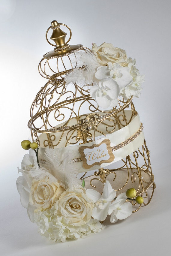 "Elegant Birdcage Wedding Card Holder ""Roaring 20's"" style in Gold and Ivory"