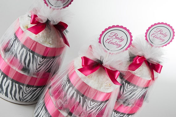 Diaper Cake Set - Hot Pink and Zebra - Personalized - Two Tier Mini Diaper Cakes - Baby Shower Centerpieces