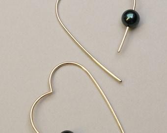 "Hoop earrings ""gold hearts"" with pearls"