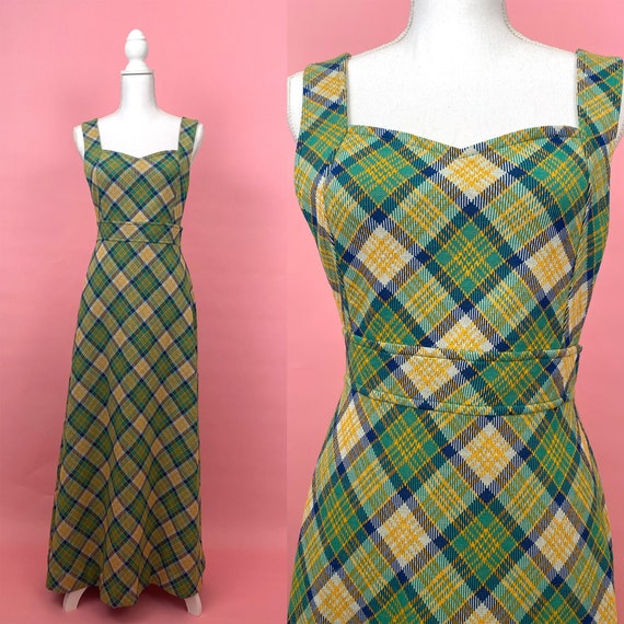 60s/70s Vintage Maxi Jumper/ Overall Dress, Apron