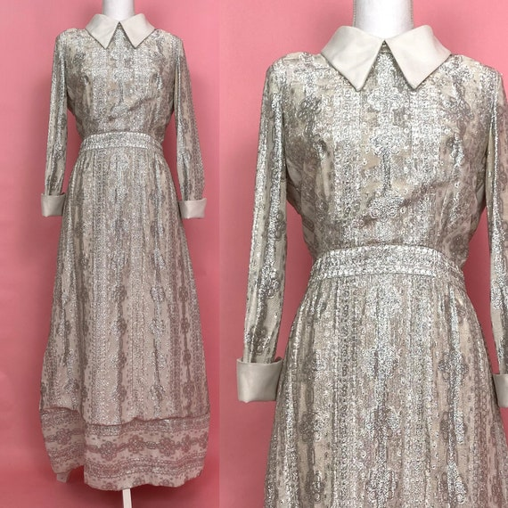60s/70s Vintage Silver Metallic Dress with White C