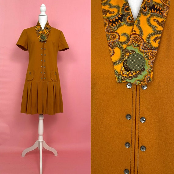 60s Mod Vintage Dress with Matching Scarf/ 1960s M