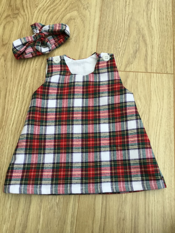 excellent quality modern and elegant in fashion limited sale Brushed cotton tartan pinafore dress lined baby toddler girl Christmas dress
