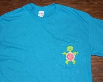 Turtle Applique Monogrammed Pocket T-Shirt