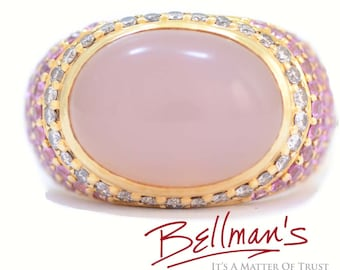 Solid 18K Yellow Gold Genuine Rose Quartz, Diamond & Pink Sapphire Ring