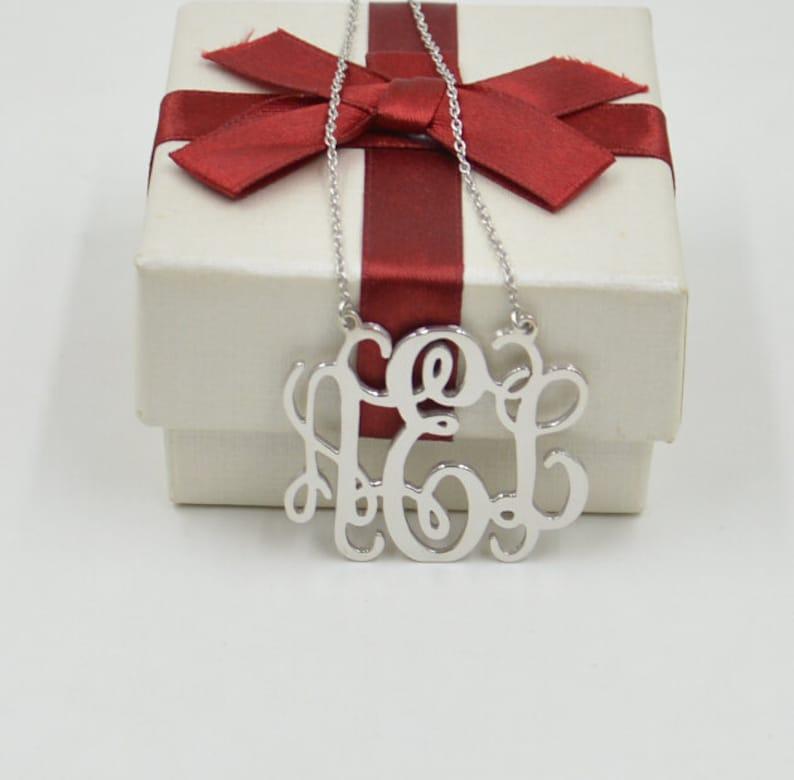 Sterling silver monogram necklace1.5 inch monogrammed image 0