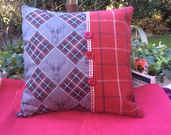 Square Christmas Cushion from Kaggicrafts in dark grey and red