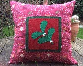 Christmas mistletoe design cushion