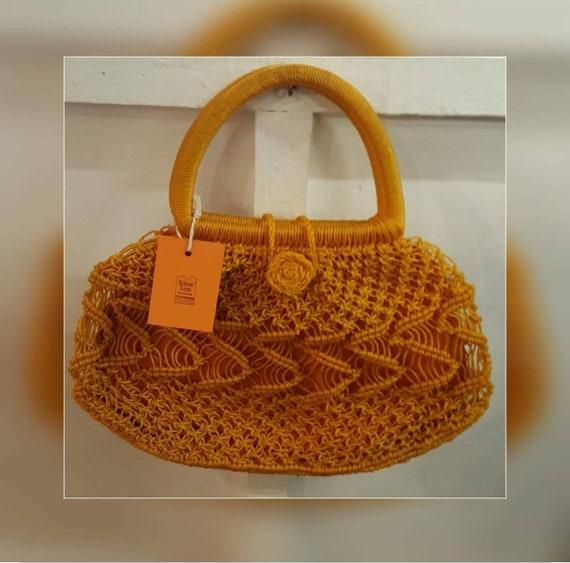 ORANGE NYLON 60's crochet BAG mod 60's
