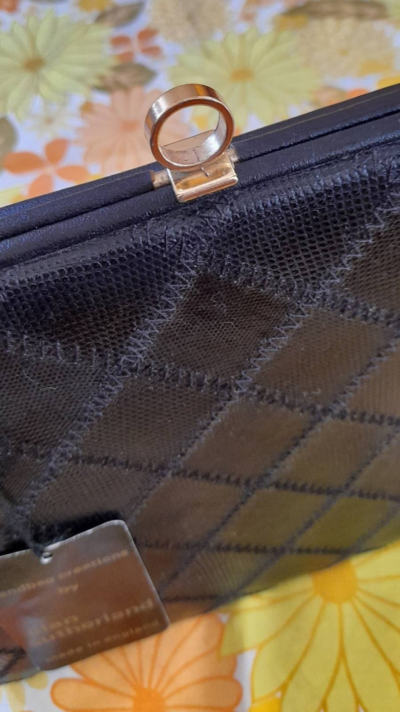 60s 70s DEADSTOCK alan sutherland BLACK patchwork KELLY bag mod sixties