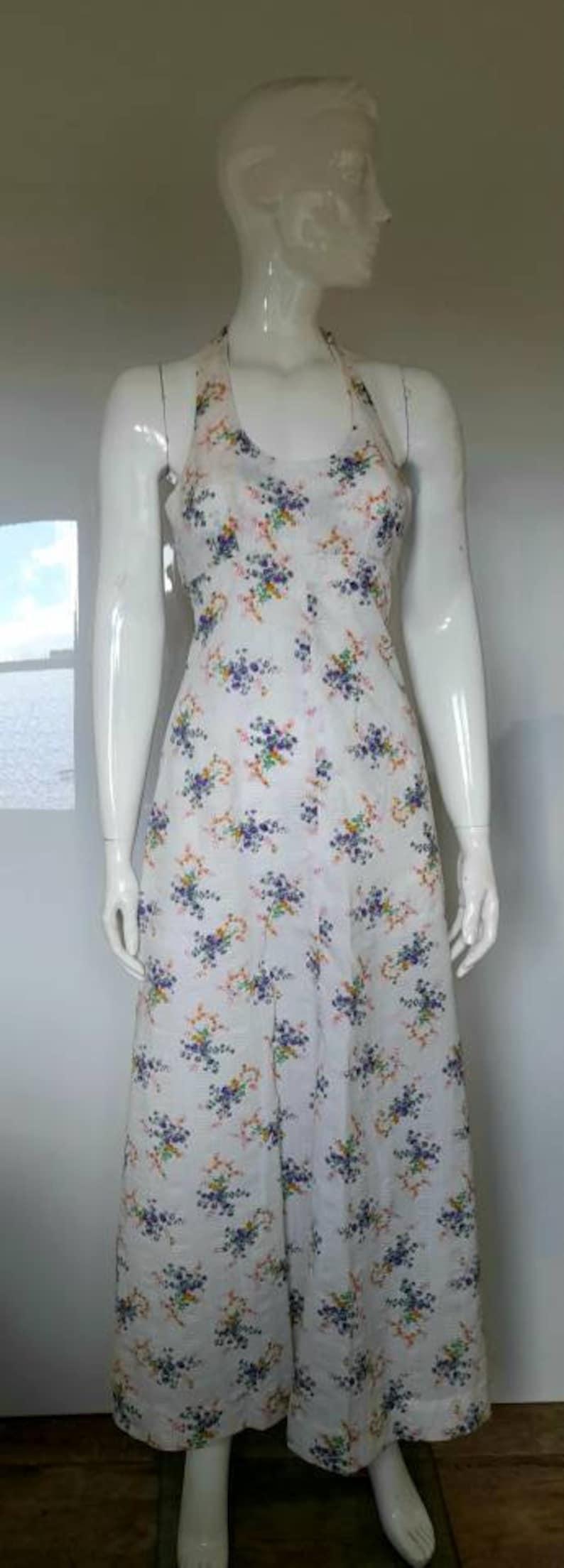70s orange purple FLORAL HALTERNECK DRESS summer dress boho uk 4 6