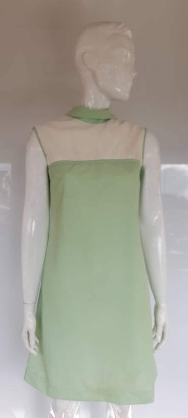 50s 60s st michael  junior miss GREEN NYLON DRESS mod uk 10