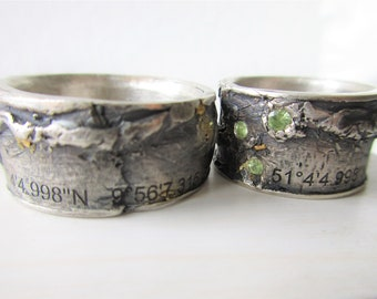 Weddingband bicolor with Coordinates  on ist surface Sterling silver/14k gold