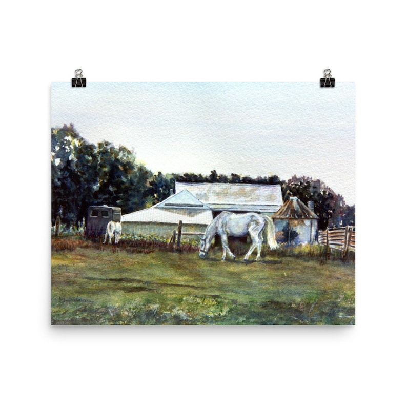 watercolor painting by Pamela Parsons Bucks County Farm painting horse painting Art Print Pennsylvania landscape painting White Horses