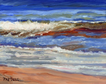 One Wave. Long Beach Island, New Jersey, 11x14 inch matted print from oil painting, Jersey Shore, beach painting, ocean painting, surf