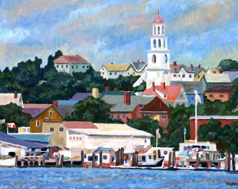 "Gloucester Harbor, 8x10"" matted print from original impressionist oil painting, Painting of Gloucester, Cape Ann painting, harbor, boats"