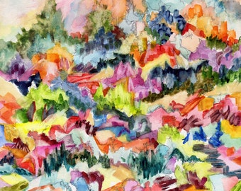 Hillside, original signed abstract expressionist watercolor, graphite, on aquaboard painting by Pamela Parsons, mountains, village, colorful