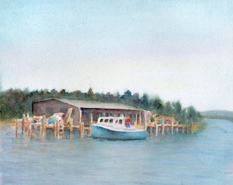 At the Dock, 9.75x11 inch original watercolor painting by Pamela Parsons,  Maine painting, Maine watercolor, boat painting, boat watercolor