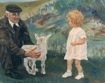 Grandfather, original oil painting, Pamela Parsons, signed, figure painting, little girl, granddaughter, goat, farm, impressionist painting