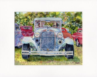 Car Show, Bucks County, 11x14 inch matted print from watercolor painting, antique car, antique Ford, classic car painting, classic car print
