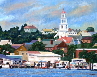 Gloucester Harbor, original oil painting by Pamela Parsons impressionism, Gloucester painting, Cape Ann painting, harbor painting, boats
