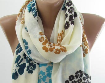 Soft Cotton Scarf Shawl Floral Scarf Cowl Scarf Hippie Scarf Bohemian  Fashion Accessories    Boho Scarf Holiday Gift For Women Gift For Her